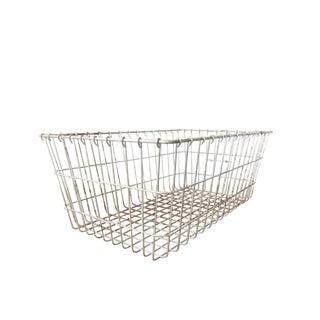 Vintage Metal Wire Locker Basket For Sale