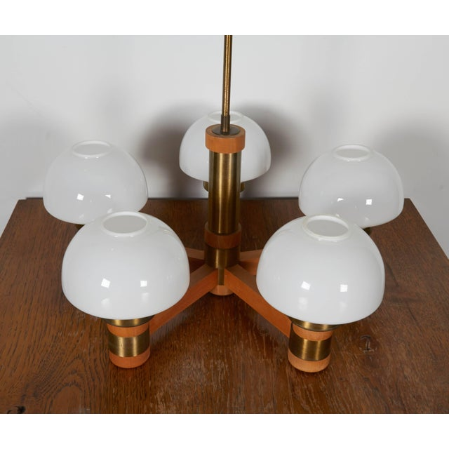 Mid-Century Modern Mid-Century Teak and Brass Five-Light Chandelier For Sale - Image 3 of 8