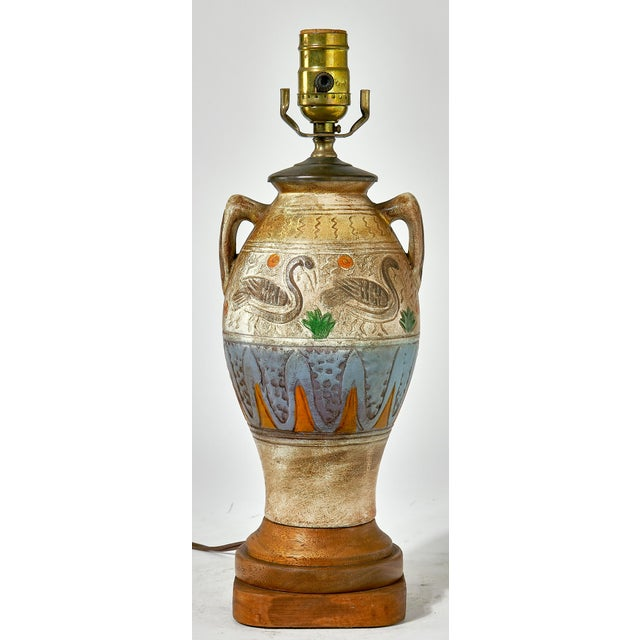 Decorated with water fowl and other colorful patterns and symbols, this would be a great lamp for a kids room. Excellent...