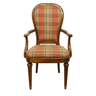 Late 20th Century Italian Neoclassical Upholstered Dining Arm Chair For Sale