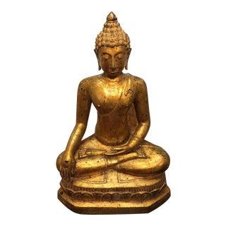 """Gilt Metal Seated Buddha 32"""" For Sale"""