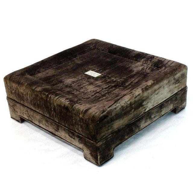 John Widdicomb Large Square Deep Bronze Velvet Upholstery Tufted Upholstery Ottoman Footstool For Sale - Image 4 of 11
