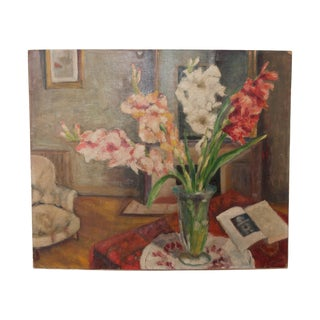 French Vintage Still Life with Gladiolas Oil Painting on Canvas For Sale