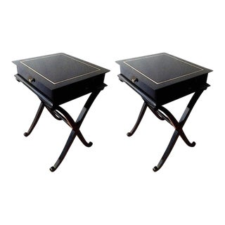 "Maurice Hirsch Stamped ""X"" Shaped Black Lacquered Side Tables or Bedsides For Sale"