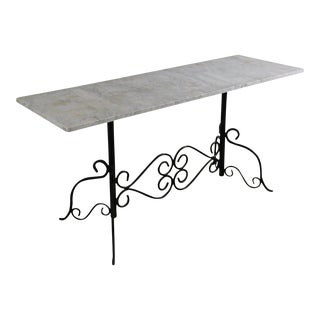 Vintage Wrought Iron Marble Top Pastry Baker's Table For Sale