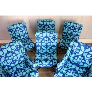 Vintage Blue Upholstered Bernhardt Flair Division Chairs - Set of 6 Preview