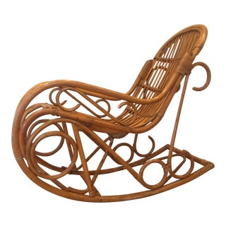 Mid Century Handcrafted Bamboo Rocking Chair For Sale