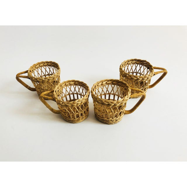 Boho Chic Vintage Wicker Drink Cozies - Set of 4 For Sale - Image 3 of 6