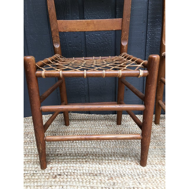 Early American Rawhide Ladderback Chairs - Set of 4 For Sale - Image 4 of 5