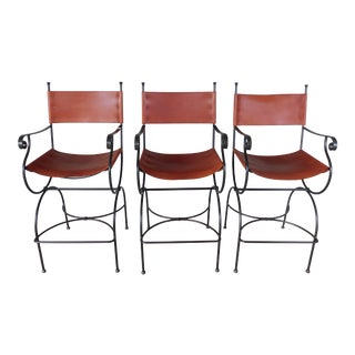 Charleston Forge Wrought Iron Sling Leather Seat Bar Stools - Set of 3 For Sale