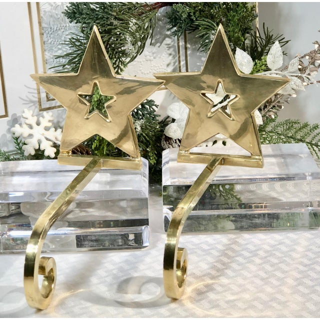Vintage Brass Christmas Holiday Star Stocking Hooks - Set of 2 For Sale - Image 11 of 13