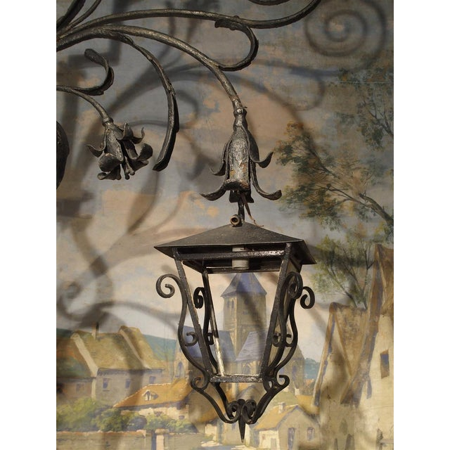 Massive Circa 1700 Forged Iron Lantern Holder From a Castle in Wallonia Belgium For Sale - Image 11 of 12
