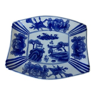 1990s Vintage Chinoiserie Blue & White Tray For Sale