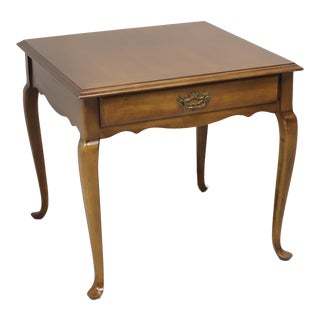 Cherry Queen Anne Square End Table by Lane For Sale