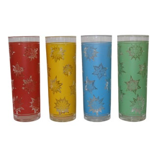 1970s Federal Multi-Colored Snowflake Highball Glasses - Set of 4 For Sale