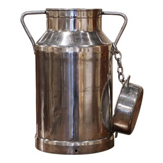 19th Century French Silvered Polished Alloy Milk Container With Chained Lid For Sale