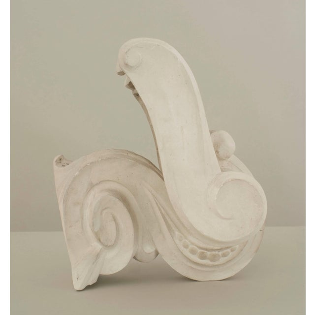 Serge Roche French 1940s Neoclassic White Plaster Capital Wall Sconces - a Pair For Sale - Image 4 of 9