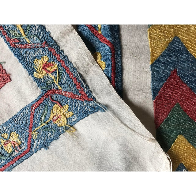 SILK And COTTON Bedspread; * handmade suzani table runner - Vintage suzani fabric * size is 3.2 FEET x 2.5 FEET ( 100 CM x...