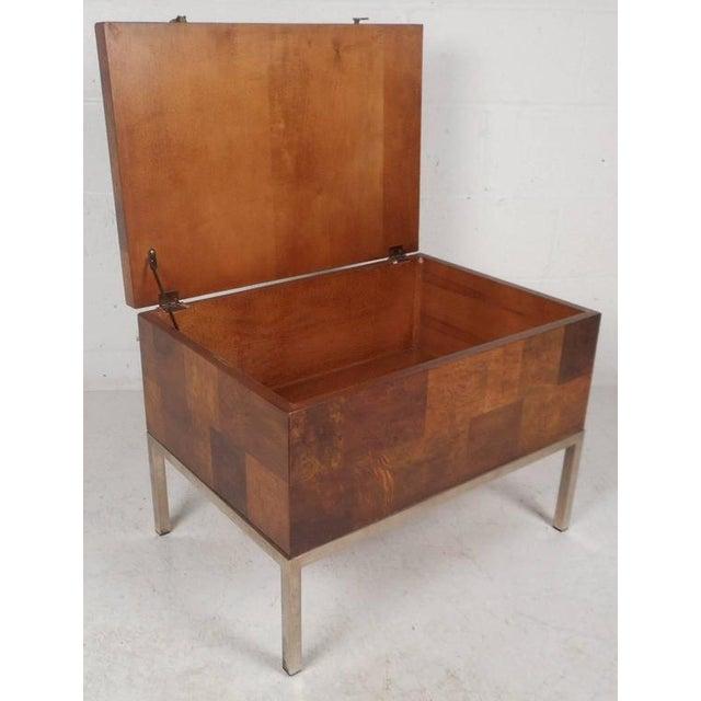 Wood Lane Furniture Mid-Century Modern Burl Storage Box with Chrome Base For Sale - Image 7 of 11