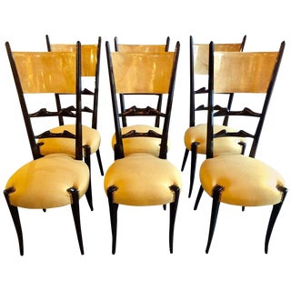 Set of Six Italian Aldo Tura Side Dining Chairs in Goatskin and Parchment For Sale