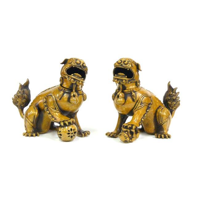 Fengshui Chinese Bronze Metal Foo Dogs - Pair - Image 1 of 6