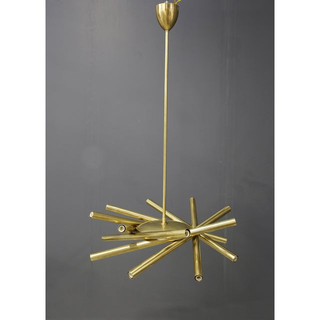 Chandelier in Style Mid Century in Brass With Spokes, 2020s For Sale - Image 9 of 9