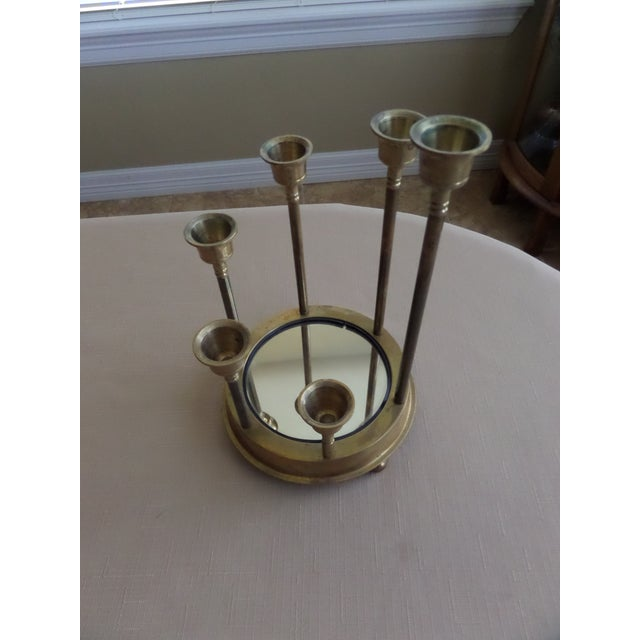 Brass Solid Brass Tulip Shape on a Circular Mirrored Footed Platform For Sale - Image 7 of 8