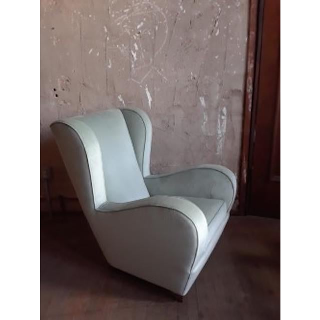 1960s Pair of Light Blue/Green Wingback Chairs For Sale - Image 5 of 5