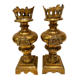 Antique Brass Candle Holders With Knights - a Pair For Sale