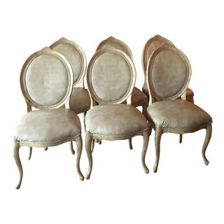 Faux Horn Painted & Leather Chairs - Set of 6