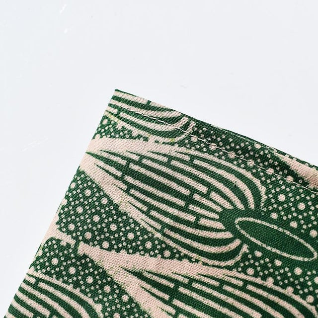 African Wax Formal Cloth Dinner Napkins in Green Block Print, Set of 4 For Sale - Image 4 of 8