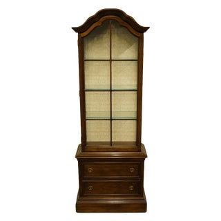 "20th Century French Country Brandt 25"" Illuminated Curio Display Cabinet With Bonnet Top For Sale"