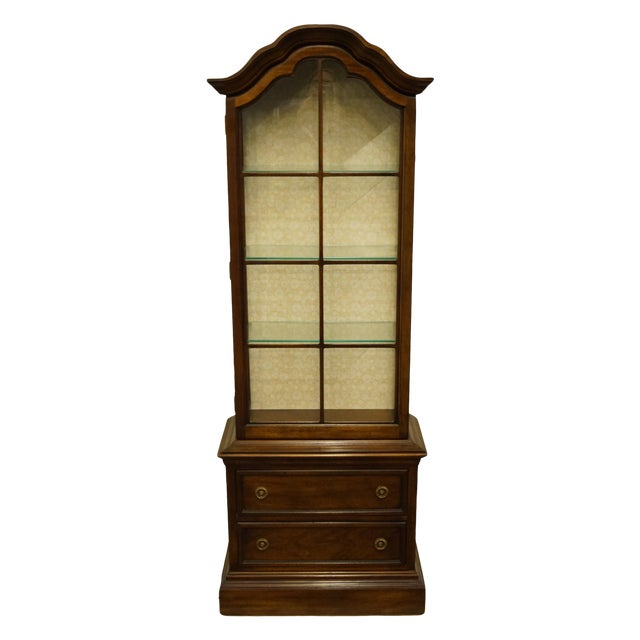 """20th Century French Country Brandt 25"""" Illuminated Curio Display Cabinet With Bonnet Top For Sale"""