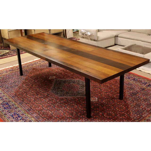For your consideration is an incredible, walnut, rosewood and birch Parsons expandable, dining table, by Milo Baughman for...