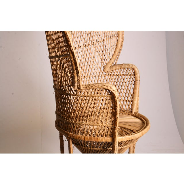 Vintage Boho Chic Wicker Peacock Chair For Sale - Image 6 of 11