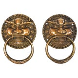 Image of Pair of Large Brass Door Knockers, Dragon King For Sale