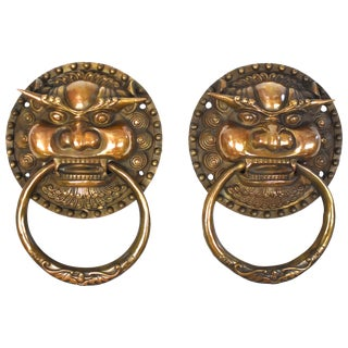 Pair of Large Brass Door Knockers, Dragon King For Sale