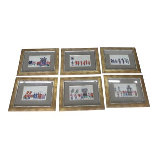 19th Century Chinese Paintings on Rice Paper - Set of 6 For Sale