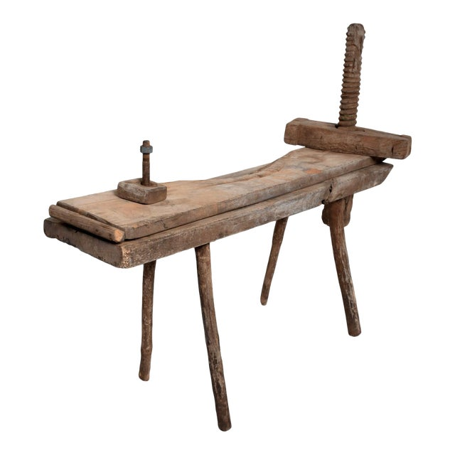 Antique Spanish Colonial Decorative Woodworking Mezquite Table For Sale