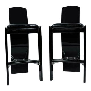 Late 20th Century Black Lucite Hill Mfg.Curved Sculptural Bar Stools - a Pair For Sale