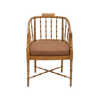 Faux Bamboo Armchair With Caned Seat For Sale
