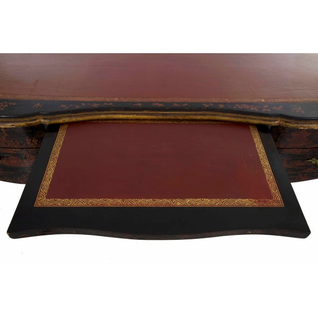 19th Century Louis XV Style Chinoiserie Decorated Bureau Plat Antique Writing Desk For Sale - Image 10 of 13