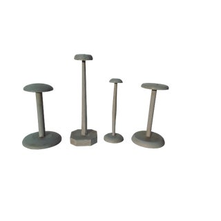 Antique Set of 4 French Hat Stands Vintage Collection French Millinery Shabby Hat Stands For Sale