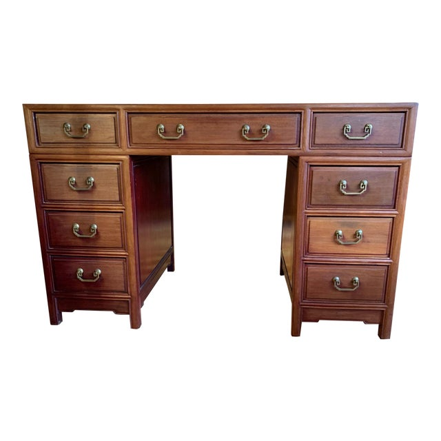 20th Century Campaign Solid Teak Partner Desk With Brass Hardware For Sale
