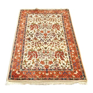 1940s Vintage Hand-Knotted Rug - 3′ × 5′ For Sale
