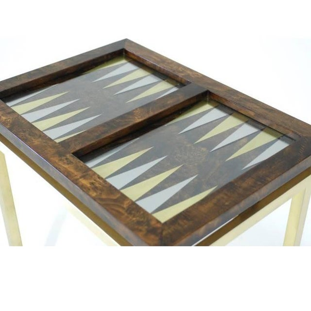 Burl Wood and Brass Backgammon Game Table For Sale - Image 4 of 9