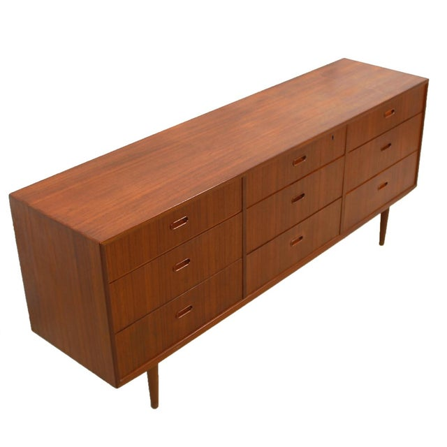 Falster Danish Modern Nine-Drawer Teak Dresser - Image 3 of 10