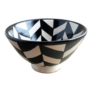 Moroccan Modern Footed Bowl, Chevron For Sale