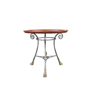 Hollywood Regency Leather Top Center Table For Sale