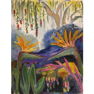 "2019 Semi Abstract Landscape Painting Acrylic on Panel ""Garden With Bird of Paradise"" by Carolyn Fox For Sale"